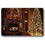 """Shirley's Door Mats Standard-Store Custom Cartoon Cute Design Christmas Fireplace Machine-washable Doormat Door Mat Rug Carpets Indoor/Outdoor Non-Slip Rubber Backing 18"""" x 30"""""""