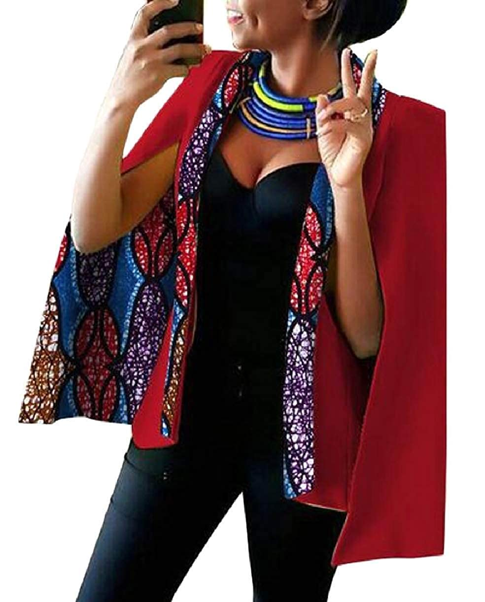 20 KLJR Women Cape Dashiki Split Open Front Plus Size African Printed Blazer