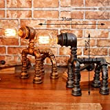 DGF Iron Art Table Lamp, Retro Cafe Bar Water Pipe Robot Table Lamp (W31cm H25cm) ( Color : Gold )
