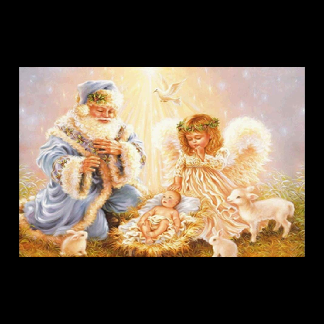 5D Embroidery Paintings Hstore Christmas Angel Rhinestone Pasted DIY Diamond Painting Cross Stitch Home Decor Craft (A)