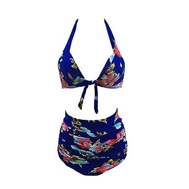 f6bfb314b1 Amazon.com  Sbra high waist swimsuit with Retro 50s Black Pink Blue Floral  Halter High Waist Bikini  Clothing
