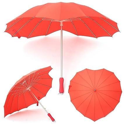 Chenxi tienda rojo en forma de corazón paraguas novia flores las niñas Pongee Cable de para