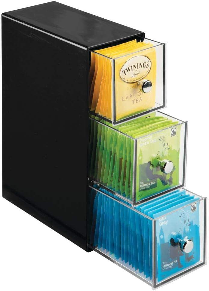mDesign Organizador de cocina con 3 cajones de plástico – Mini cajonera para infusiones, bolsas de té, sobres de café, azúcar, etc. – Caja de té en plástico – negro