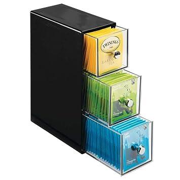 vente chaude en ligne ec84a 4749e mDesign boite de rangement cuisine avec 3 tiroirs – casier de rangement  pour sachets de thé, tisane, infusion, dosette de café, édulcorant, sucre  et ...
