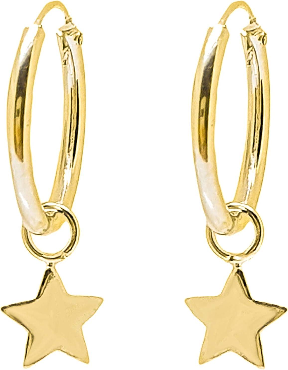 ENTREPLATA Pendientes Aro con Colgante de Plata de Ley 925 Chapado Oro 24 K. Estrella