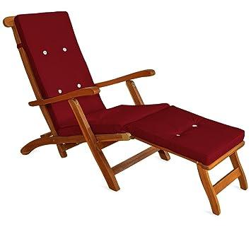 detex coussin pour chaise longue 173 cm matelas transat bain de soleil jardin rouge - Fauteuil Bain De Soleil