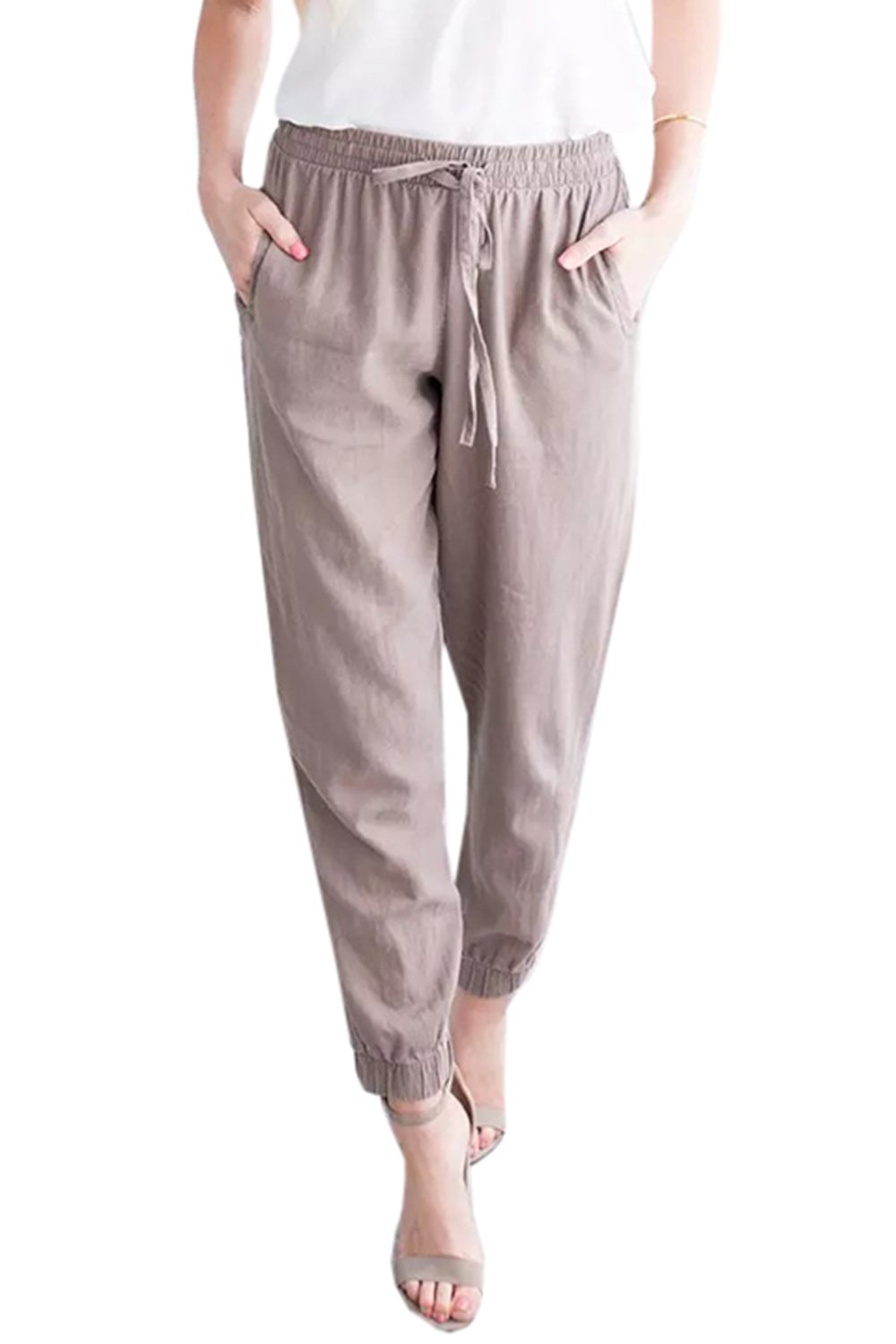 Mafulus Womens Linen Pants Casual Drawstring Elastic Waist Plus Size Harem Pants Pockets