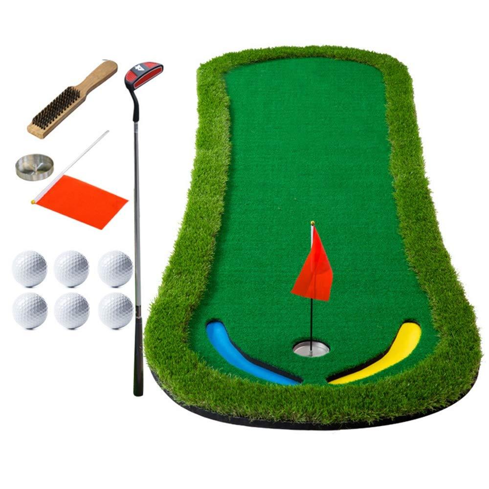 パター練習用マット ゴルフパッティンググリーンマットポータブルゴルフコートミニトレーニングエイド - エクストラロングリアルライクグラスパッティングトレーナーセット 裏面滑り止め (色 : 1.3m, サイズ : Accessories+putter) Accessories+putter 1.3m B07TB3C13D