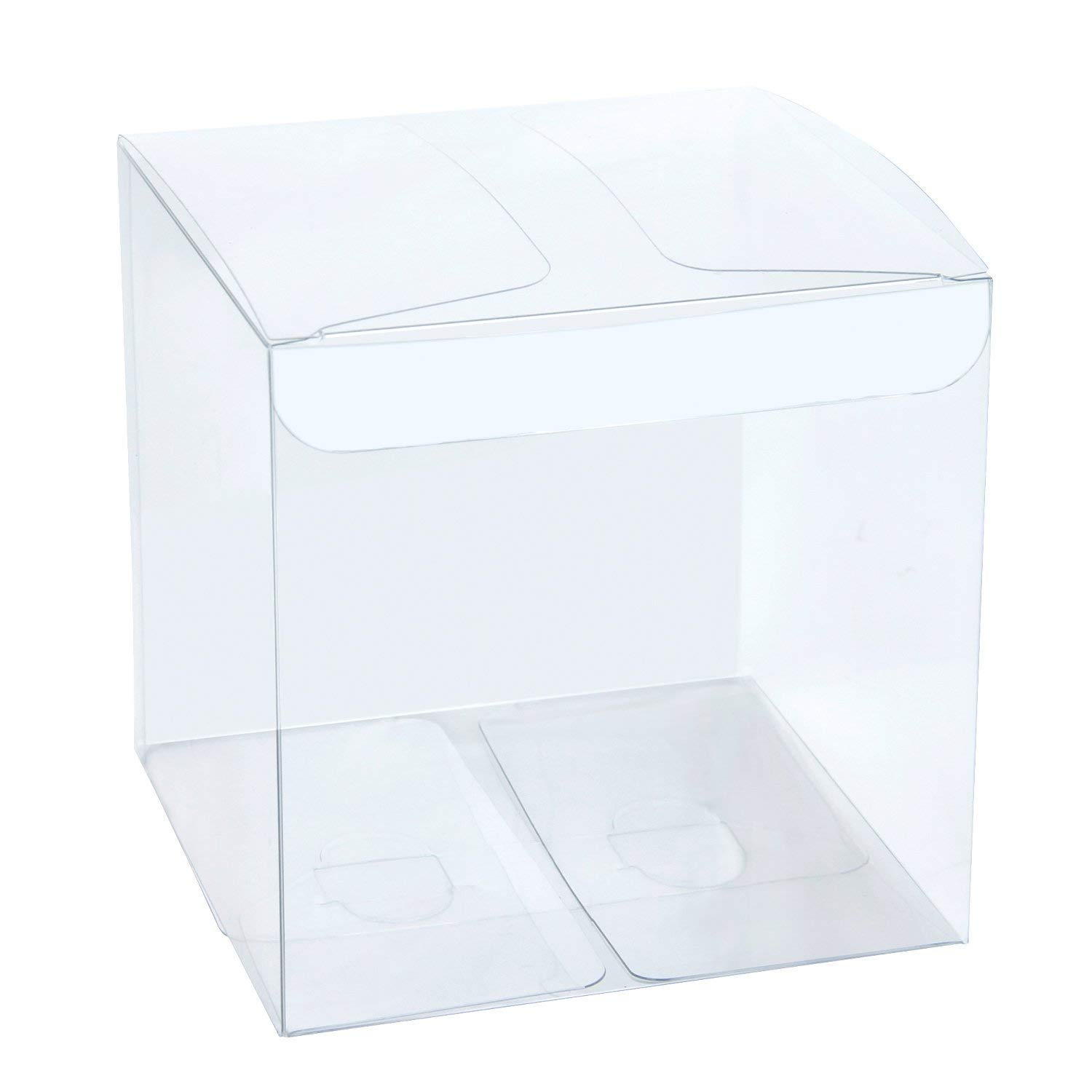 LaRibbons 50Pcs PET Clear Box, Transparent Boxes/Clear Gift Boxes for Wedding, Party and Baby Shower Favors, 4'' L x 4'' W x 4'' H