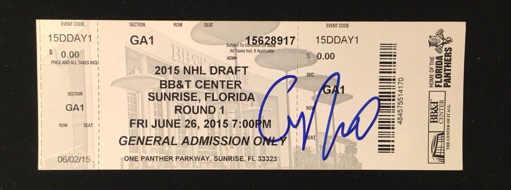 Connor Mcdavid Signed Autograph 2015 Nhl First Round Draft Ticket JSA Certified Oilers Mvp