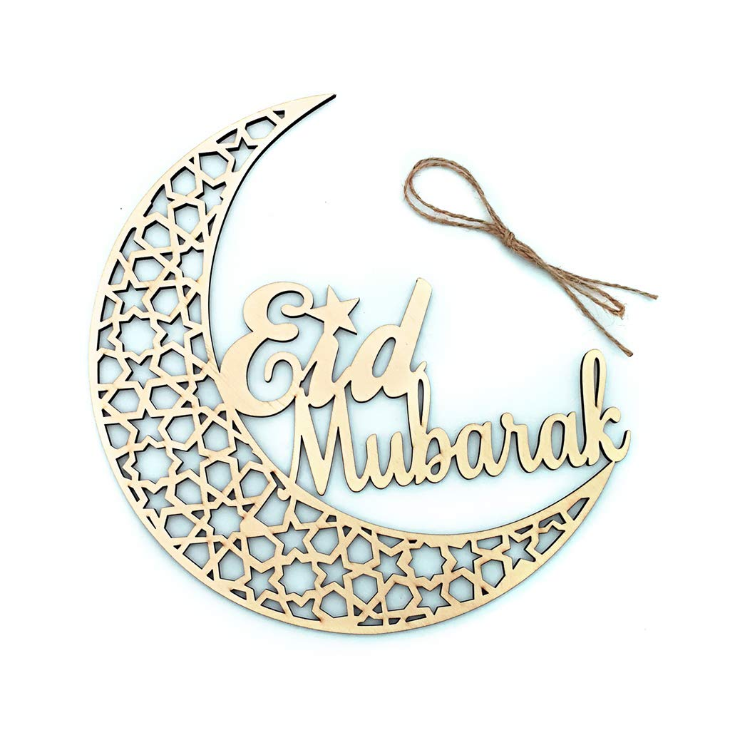 Cadeau dactivit/és Artisanales Plaque en Bois de Ramadan DIY Eid Moubarak Mubarak D/écoration de Maison Musulmane