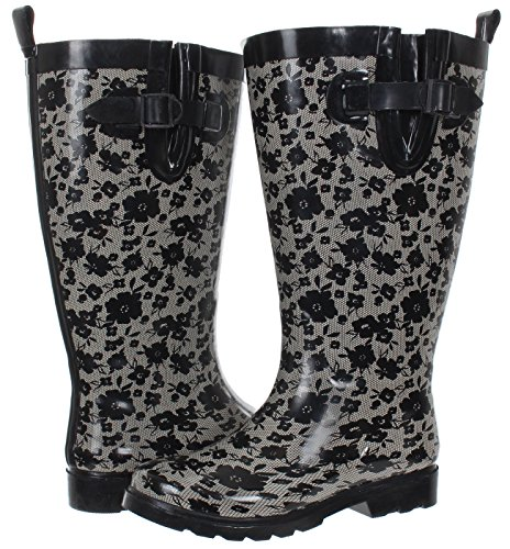 Capelli New York Ladies Lacey Blooms Printed Tall Rubber Rain Boot Black Combo 7