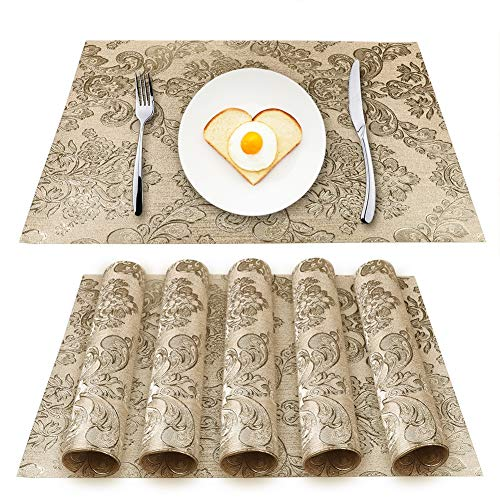 BlueFinger Placemats Washable Non-Slip Vinyl Place Mat for Kitchen Dinner Table, Wipe Clean & Waterproof PVC Table Mat for Indoor Outdoor Table, Set of 6, 12x18(Gold)