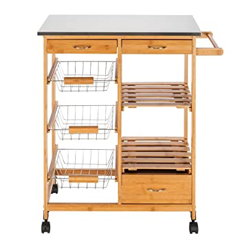 Amazon.com - Layee Moveable Kitchen Cart Rolling Wood ...