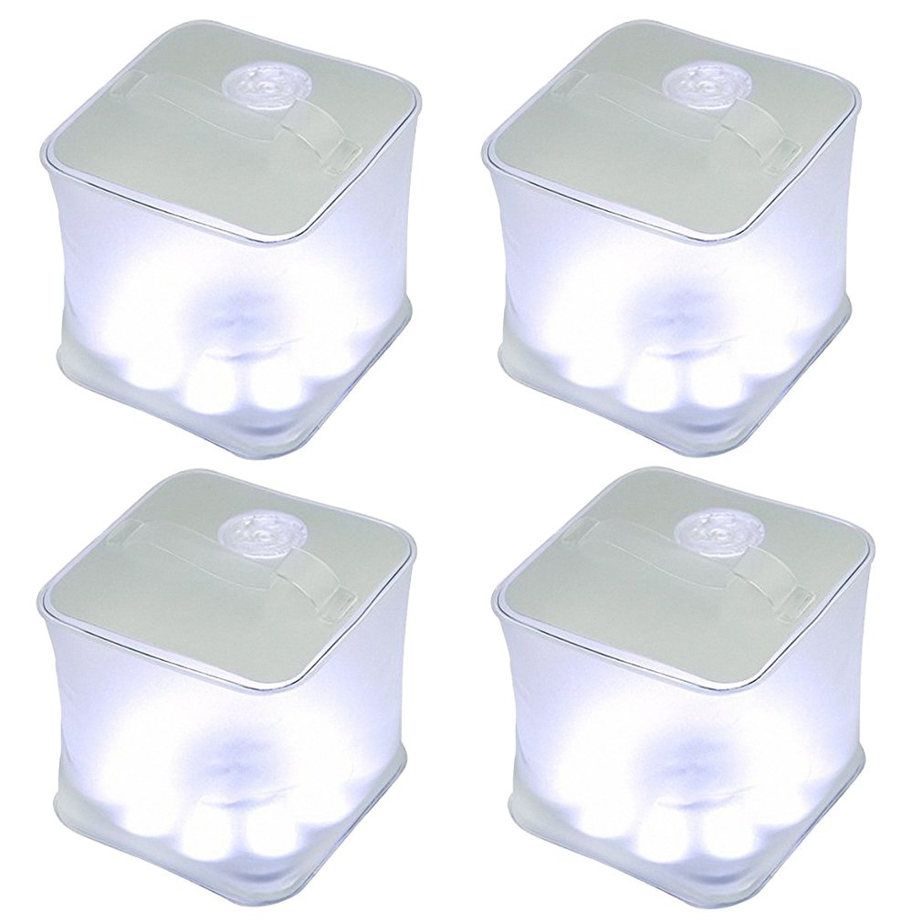 Choreau Inflatable Frosted Cube Solar Survival Emergency Lantern, Waterproof Rechargeable Solar Powered LED Light, Camping Hiking Hunting Fishing Patio Parties Flashlight Lantern (4 Pack) by Choreau