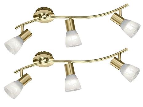 Trio Leuchten - Juego de 2 lámparas de techo (3 focos, latón ...