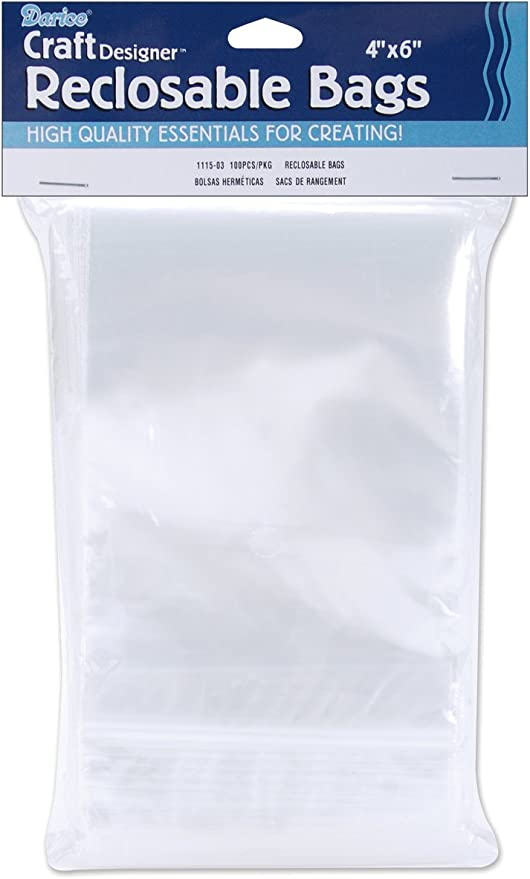 Darice 1115-03 100-Pack Plastic Reclosable Storage Bags, 4 by 6-Inch, Clear