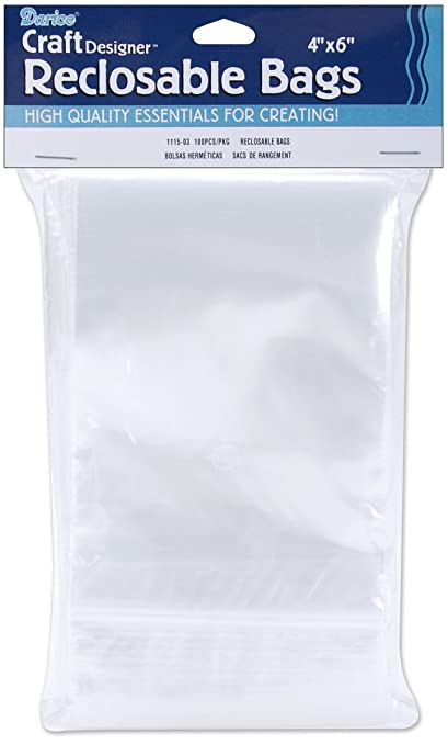 Darice 1115-03 100/Pack Plastic Reclosable Storage Bags, 4 by 6-Inch, Clear