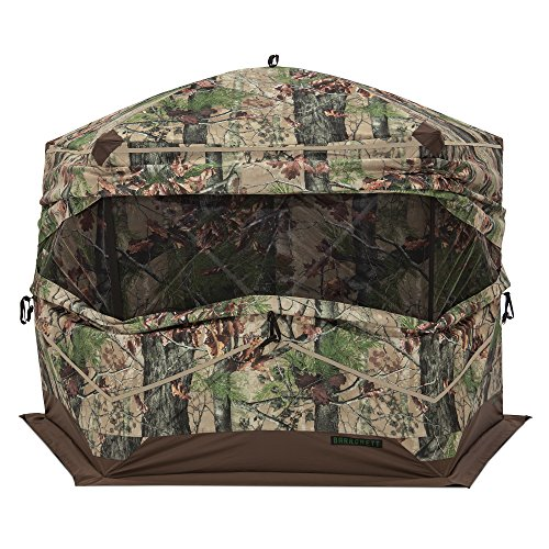 Barronett Ox 5 Ground Hunting Blind, 3 Person Pop Up Portable, Durable Oxhide Fabric, Backwoods Camo ()