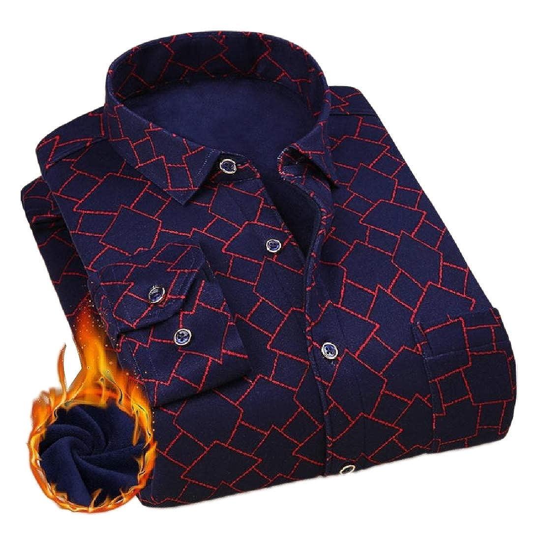 Maisicolis Men Plus Velvet Lattice Detail Thicken Tops Big /& Tall Shirt