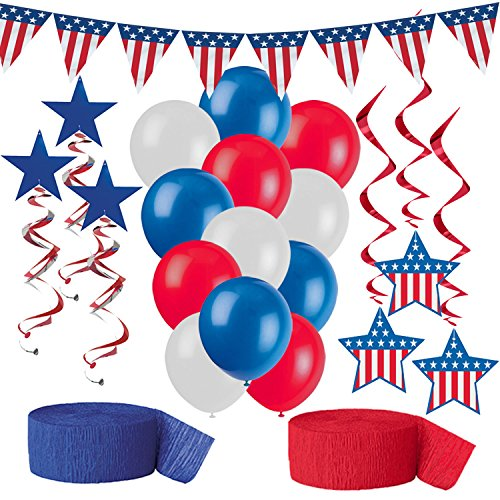 American Flag Party Decorations, Red White and Blue Patriotic Supplies - Pennant Flag Banner, 12 Balloons, 6 Stars and Stripes Hanging Swirls in two styles, Red Crepe Streamer, Blue Crepe Streamer -
