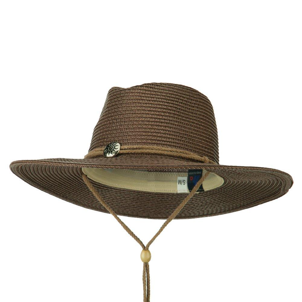Ladies Toyo Braid Outback Wide Brim Hat - Brown