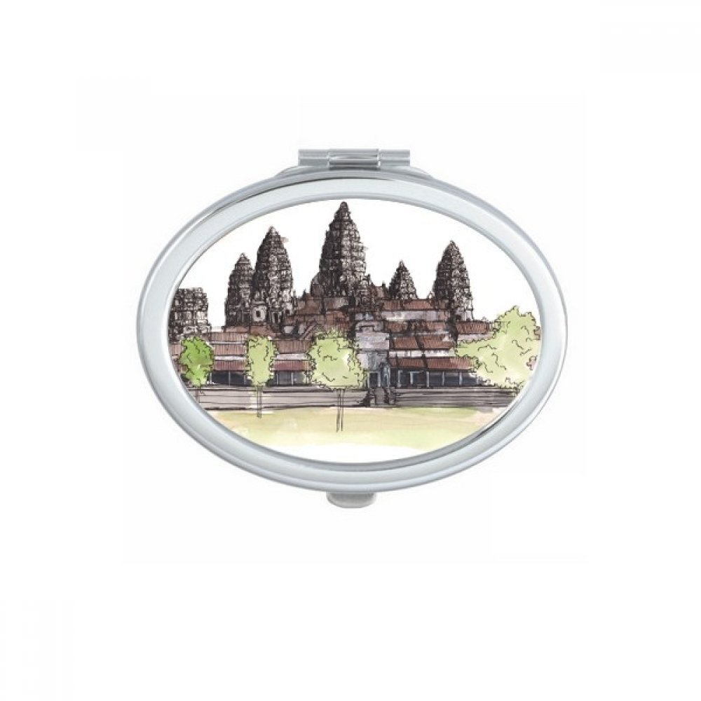 DIYthinker Angkor Wat in Asia Oval Compact Makeup Pocket Mirror Portable Cute Small Hand Mirrors Gift