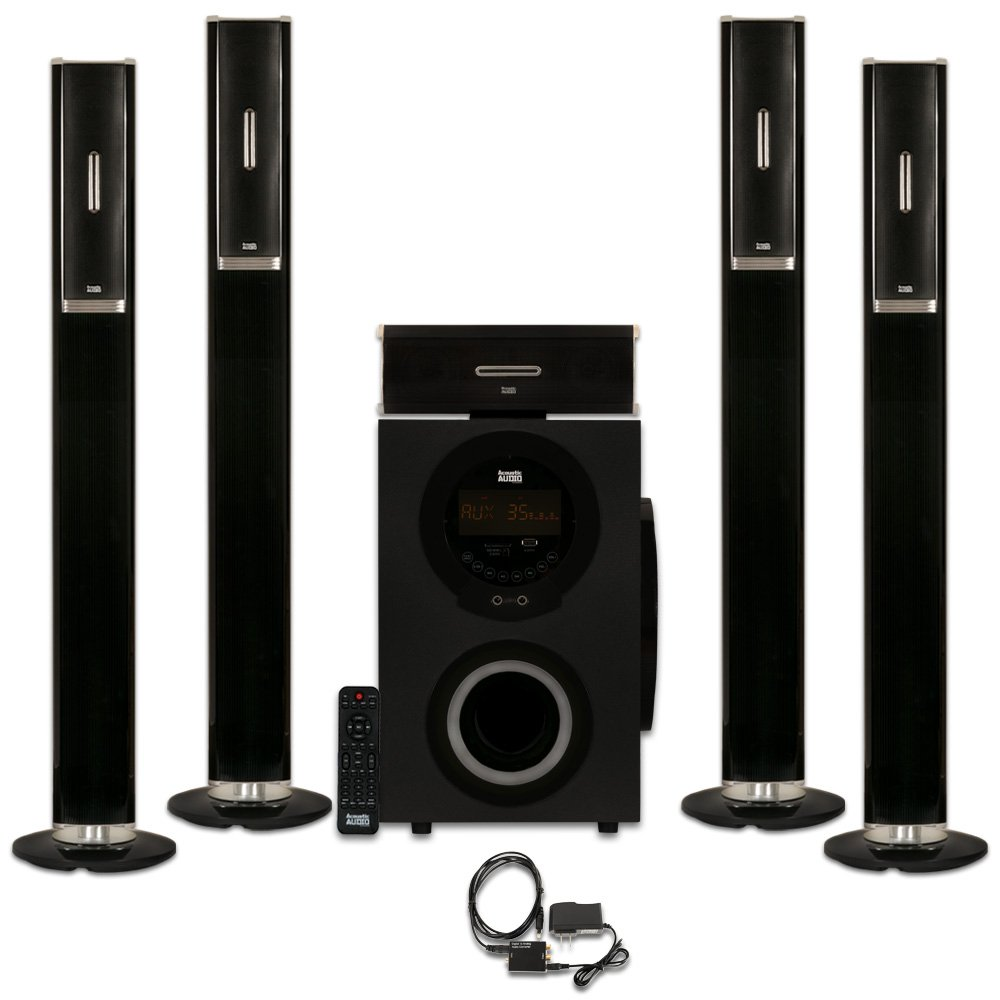 Acoustic Audio AAT3002 Tower 5.1 Home Theater Bluetooth Speaker System with Optical Input by Acoustic Audio by Goldwood