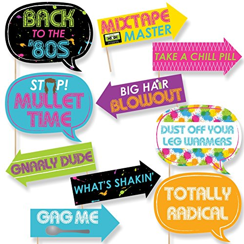 Funny 80's Retro - Photo Booth Props Kit