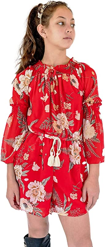 7-16 Many Options Big Girls Floral Printed Smocking and Ruffle Detailed Jumpsuits with Pockets Smukke