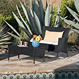 Great Deal Furniture Malta Outdoor Black Wicker Loveseat and Coffee Table Set with White Water Resistant Cushions