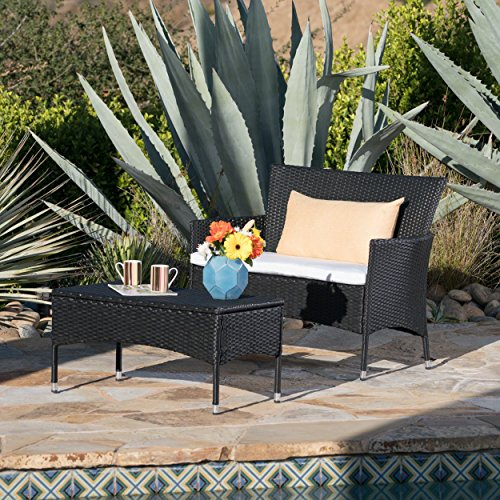 Great Deal Furniture Malta Outdoor Black Wicker Loveseat and Coffee Table Set with White Water Resistant Cushions (Wicker Set Loveseat White)