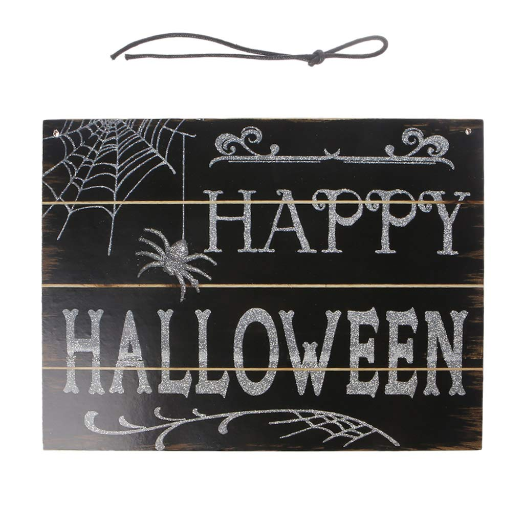 LANDUM Halloween Trick Or Treat Hanging Wall Sign Wood Plaque Home Decoration Board DIY