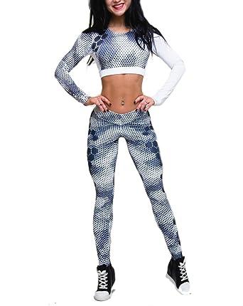 Chandal Mujer Crop Top+Leggins Deportes Dos Piezas Mallas Yoga ...