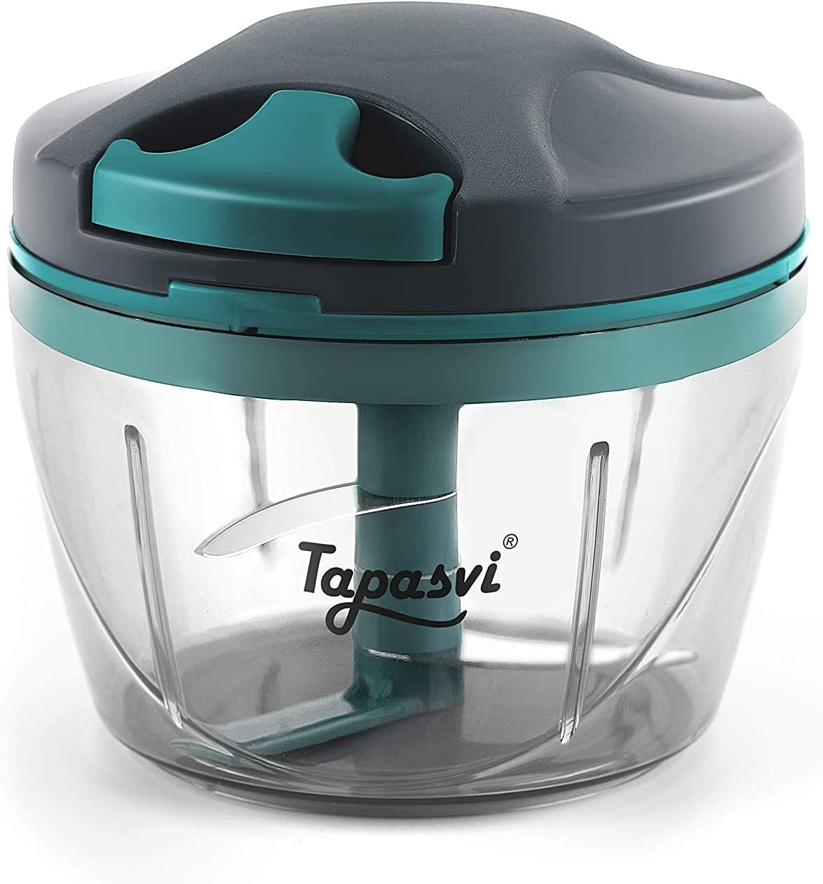 TAPASVI Hand Powered Food Chopper, Easy Pull Manual Food Processor Handheld Vegetable Slicer Crusher and Dicer, Hand-powered Onion Garlic Chopper, Press Mincer Cutter with Stainless Steel Blades 650ml