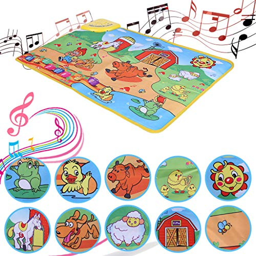 Kids Music Play Mat,Mosunx Toys Children Animals Early Educational Crawl Carpet Mat,Kids Sound Mat for Toddler Baby Child Boys Girls (Animal Printed, 28.3 x 19.7 inch) ()