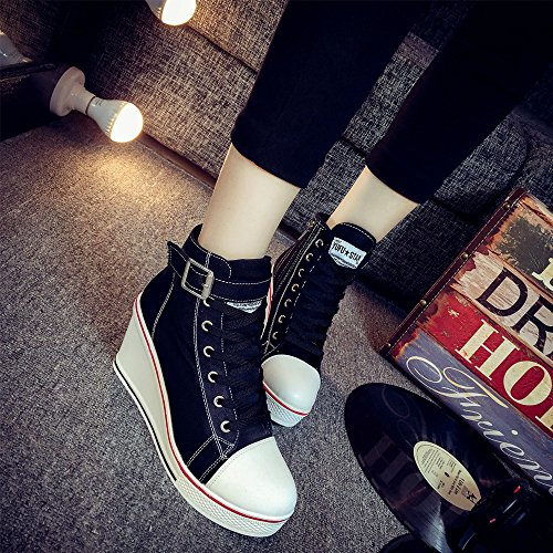 Platform Heeled Canvas Boots top Sneakers Wedges fereshte High Fashion Black Women's 7wqS1S
