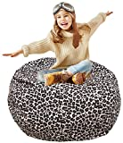 "Kid's Stuffed Animal Storage Bean Bag Chair with Extra Long Zipper, Carrying Handle, Large Size at 38"", 100% Sturdy Cotton. Excellent Solution for Toys and Clothes, Available For Boys And Girls"