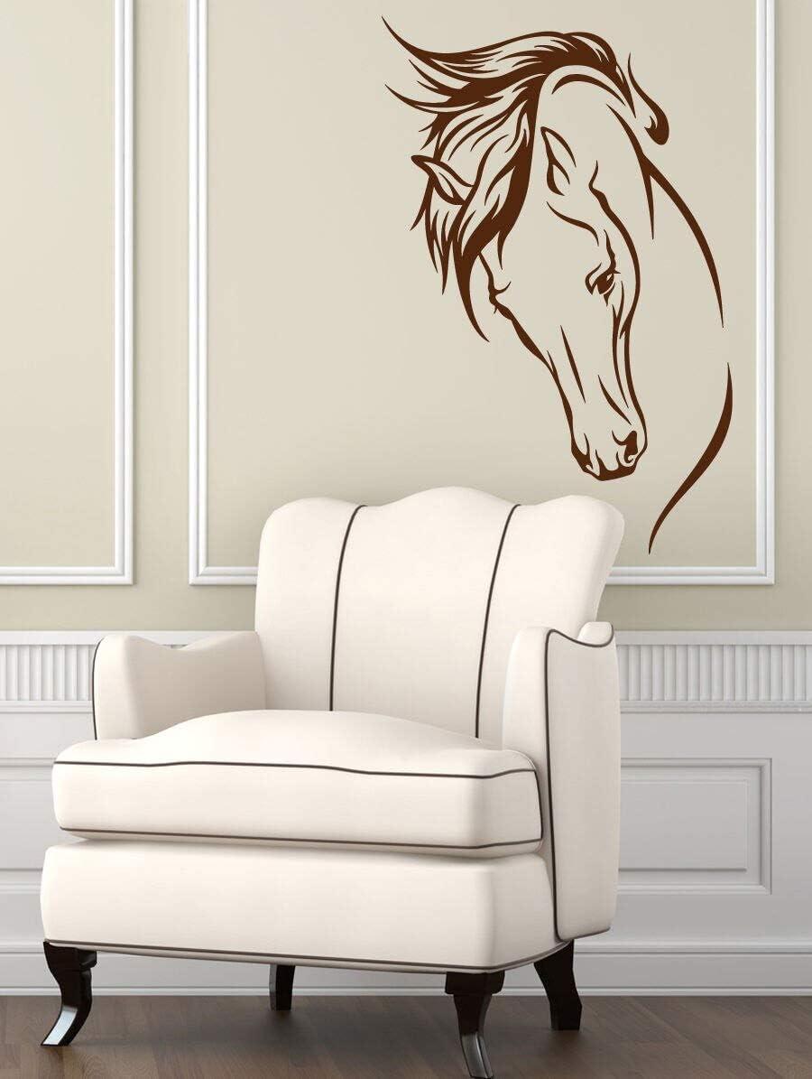 Tianpengyuanshuai Arte Vinilo calcomanía habitación Animal Cabeza de Caballo decoración Interior del hogar Mural 50X78cm