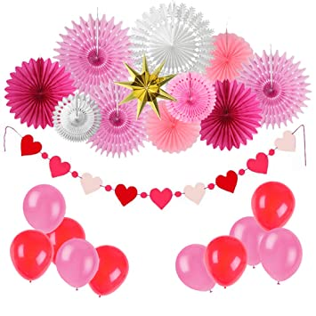 Easy Joy Decoration Chambre Fille Rose Rosace Papier Rouge Coeur ...