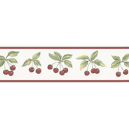 norwall fk78462 cherry wallpaper border fruit border theme in red