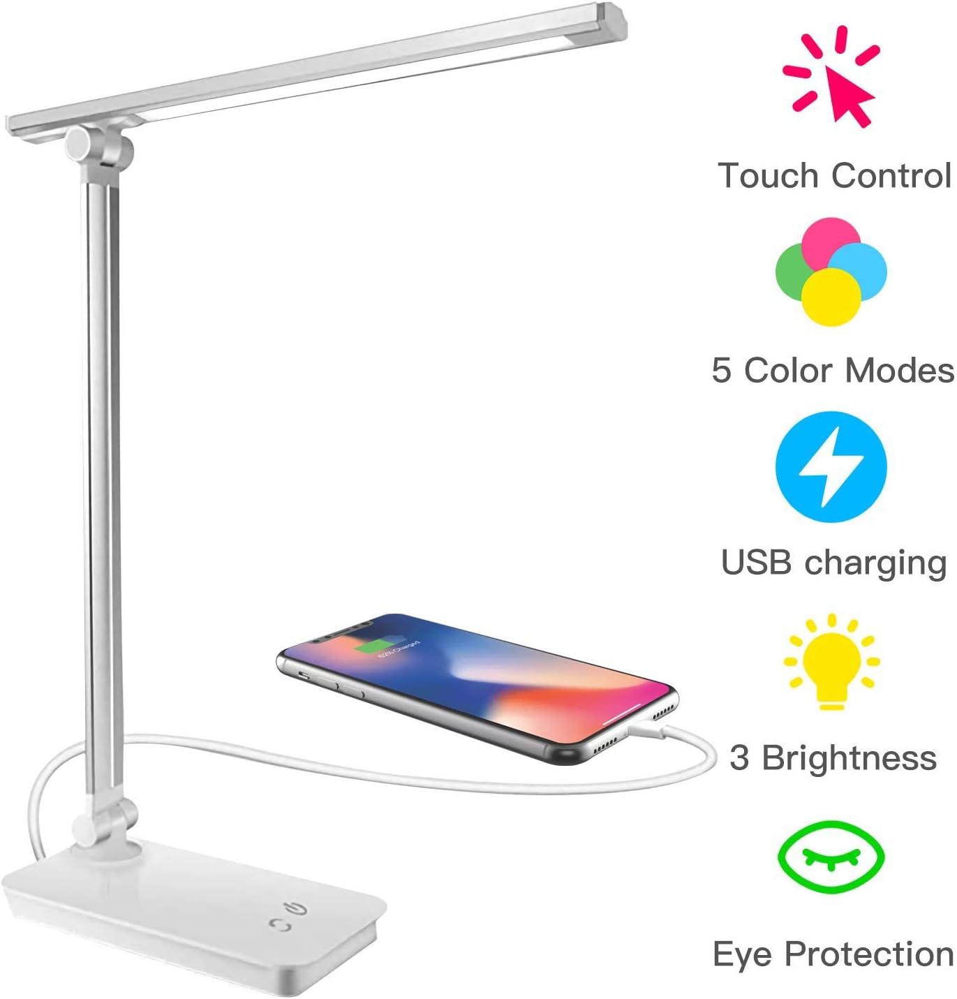 Lámpara de escritorio LED, lámpara de mesa LED regulable, control táctil 3 modos de iluminación 5 niveles de brillo, lámparas de mesa plegables con puerto USB de carga (Silver)