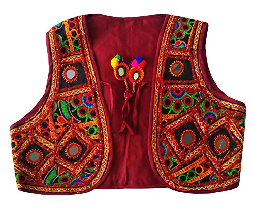 PULAA Original Mirror Work Shrug-Indian Embroidered Jacket-Kutchi Handmade koti-gamthi Vest (Mirror Embroidered)