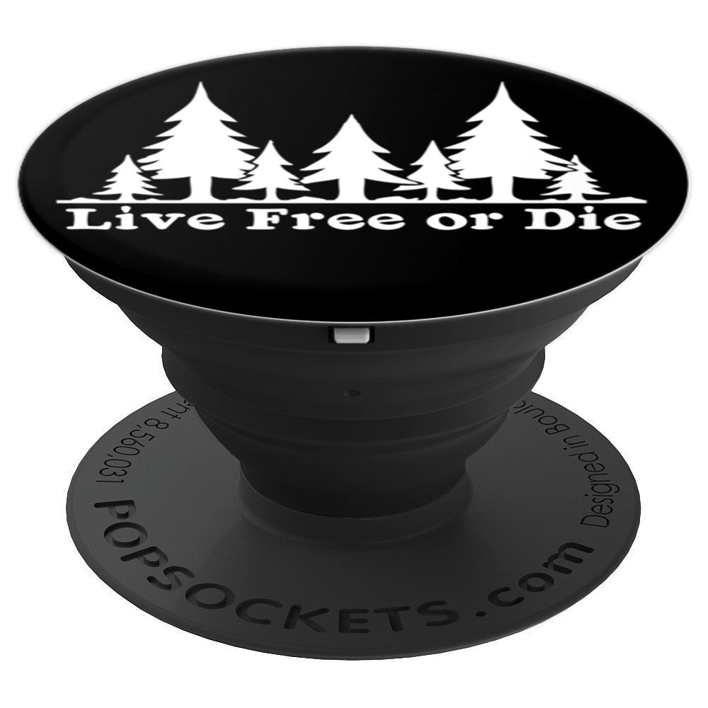 Live Free or Die: Forest trees distressed camp handle - PopSockets Grip and Stand for Phones and Tablets