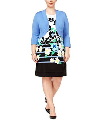 88c94ca606eb2 Image Unavailable. Image not available for. Color  Jessica Howard Plus Size  Floral-Print Shift Dress ...