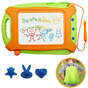 Magna Doodle for Toddlers,Magnetic Drawing Board Travel Size Toddlers Toys Colorful Erasable Sketching Etch a Sketch with One Carry Bag Magnet Pen and Three Stampers