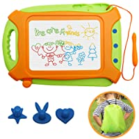 Wellchild Magnetic Drawing Board for Toddlers,Travel Size Toddlers Toys A Etch Toddler Sketch Colorful Erasable with One Carry Bag Magnet Pen and Three Stampers