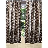 "Mogulinterior Spanish Tulips Curtain Window Panel Brown Tab Top (48""x84"")"