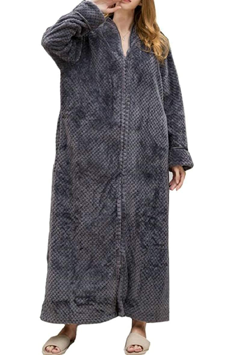 11 SmeilingCA Women Nightgown Robe Thick Zip Flannel Long Sleeve Oversize Bathrobe Robe