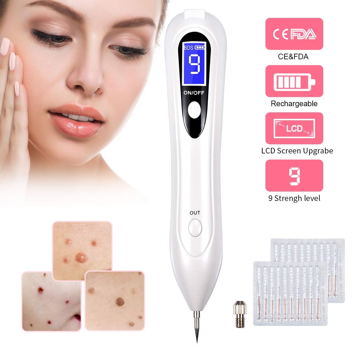 Portable Skin Tag Repair Kit, 9-Speed Adjustable Freckle & Tattoo Beauty Equipment with Replaceable Needle, Home USB Rechargeable